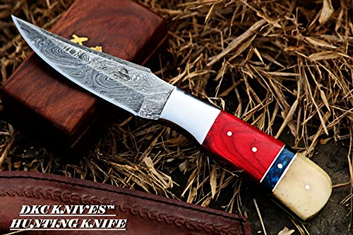 DKC Knives 15 5 18 DKC-720 RED BIRD Damascus Steel Bowie Hunting Handmade Knife Fixed Blade 8.9 oz 9 Long 4.5 Blade