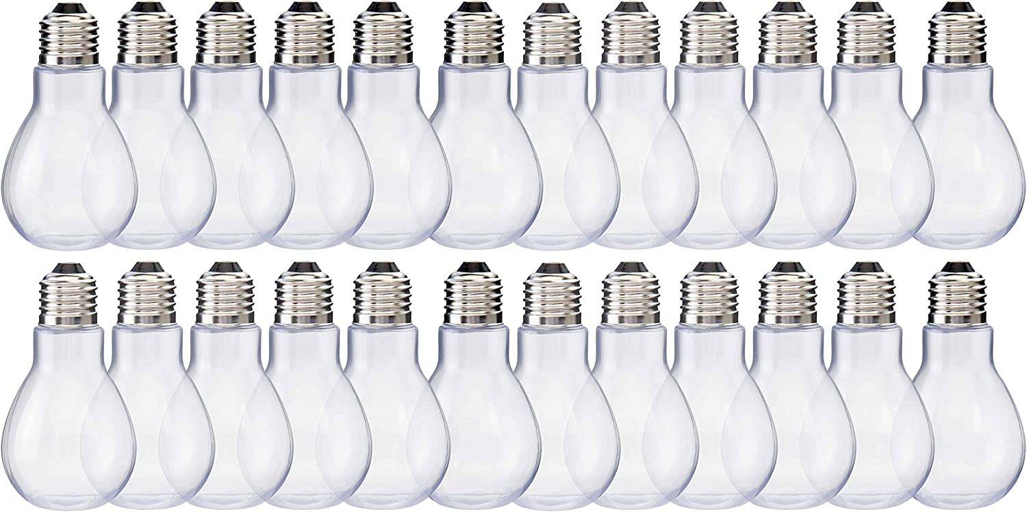 """Clear Plastic Candy Jars Arts and Crafts Supplies Freestanding Bottom 4/"""" Tall 24 Pack Party Favors Home Collectives Fillable Light Bulb Containers Decorative Centerpieces Twist Off Cap"""