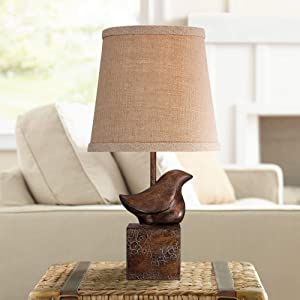 "Bird Moderne Cottage Accent Table Lamp 15 1/2"" High Bronze Crackle Burlap Hardback Shade for Bedroom Bedside Nightstand"