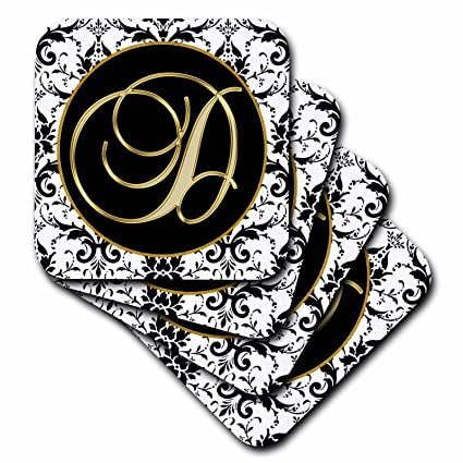 3drose fancy monograms image of the script letter d in black white and gold