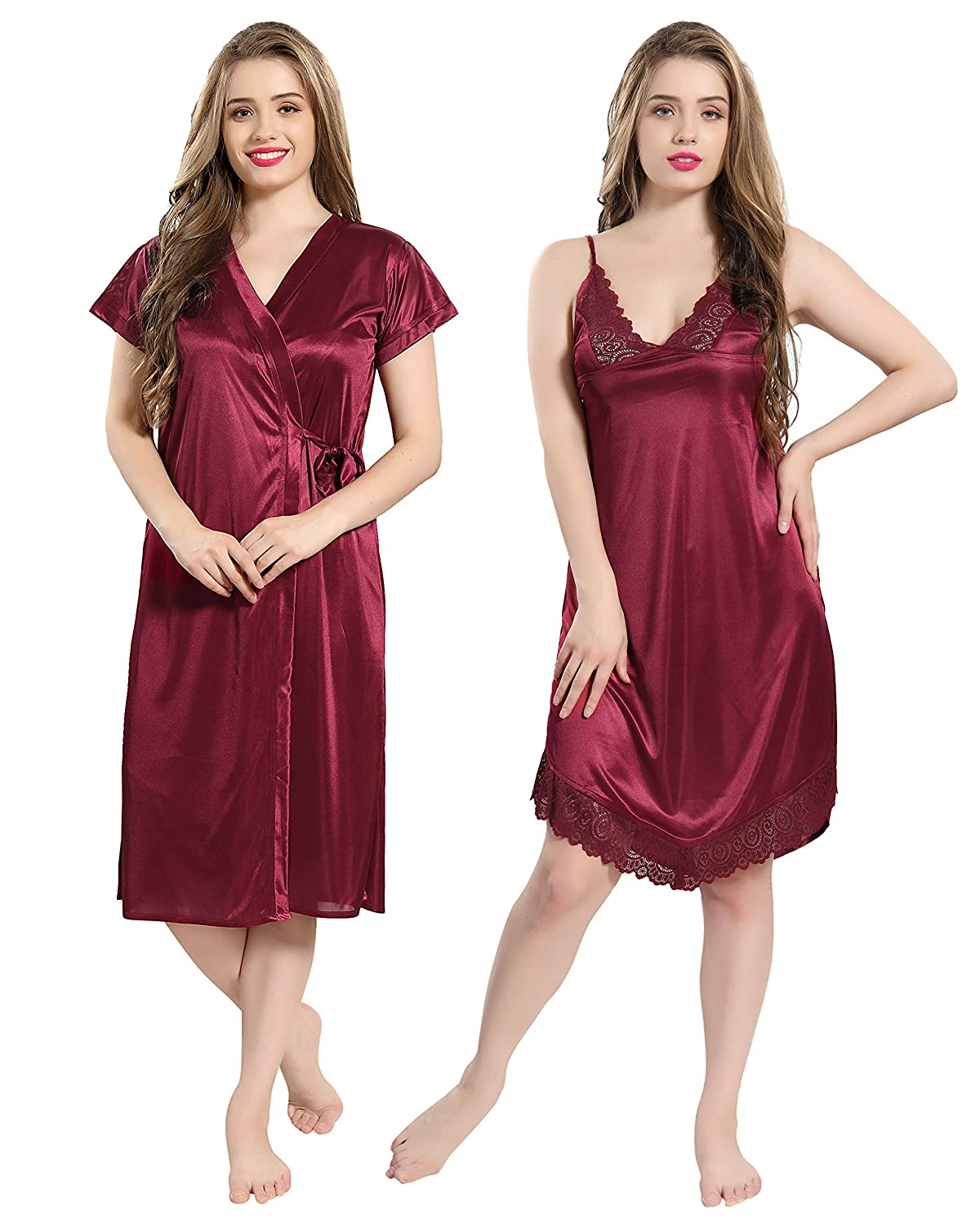 9d7bbc0cd2996 AV2 Women's Satin Short Nighty with Lace and Robe (Maroon, Free Size):  Amazon.in: Clothing & Accessories