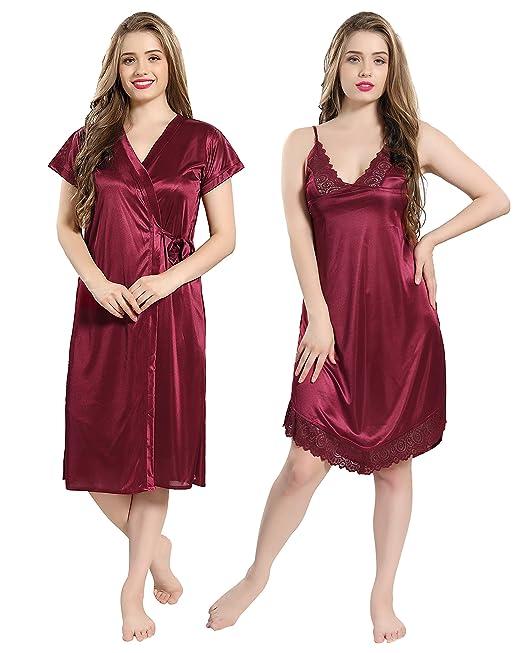 5119292f804 AV2 Women s Satin Short Nighty with Lace and Robe (Maroon
