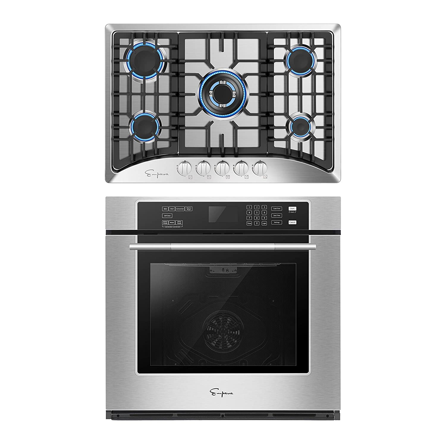 Empava 30 Inch Electric Single Wall Oven with Self-cleaning Convection Fan and Gas Cooktop Stove LPG/NG Convertible with 5 Italy SABAF Burners in Stainless Steel