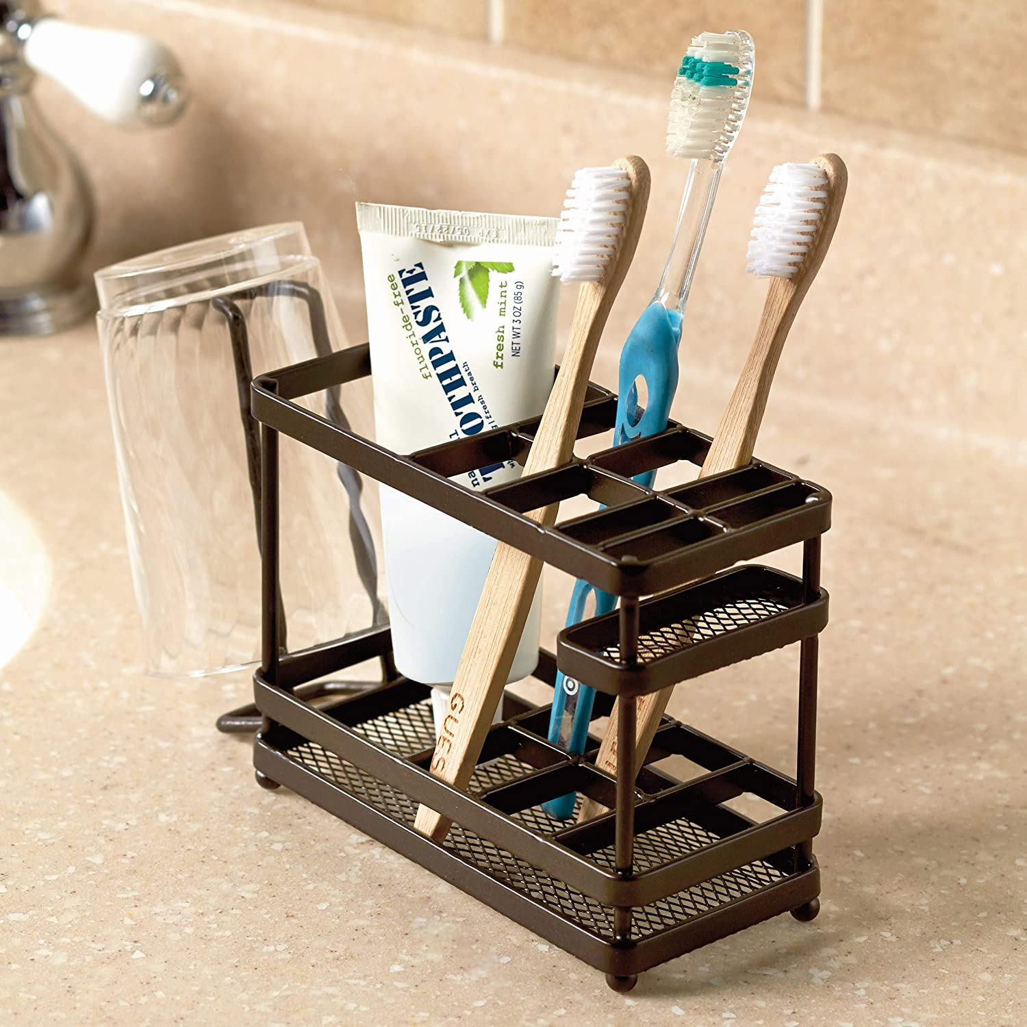 The Lakeside Collection Metal Bathroom Countertop Organizer and Storage Tray - Bronze