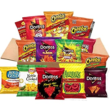 Ultimate Snacks Care Package, Hot & Spicy Variety of Chips, Nuts & More, 40  Count