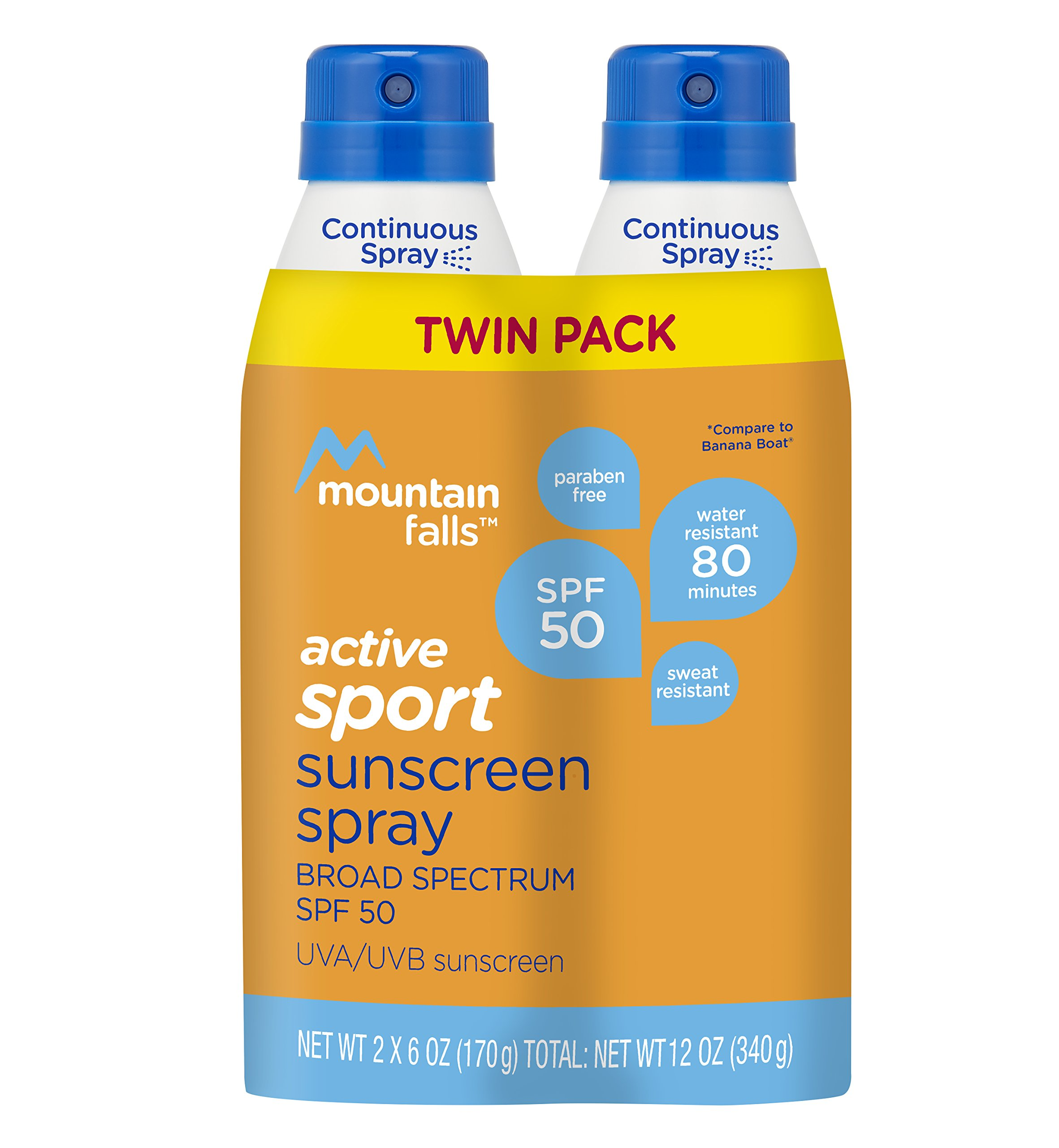 Mountain Falls Active Sport Sunscreen Continuous Spray, SPF 50 Broad Spectrum UVA/UVB Protection, Compare to Banana Boat, 6 Ounce (Pack of 2)