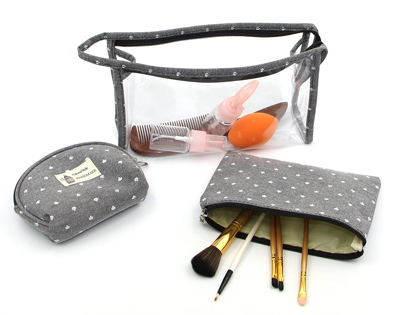 HOYOFO 3pcs claro Toiletry maquillaje neceser bolsa de viaje impermeable: Amazon.es: Belleza