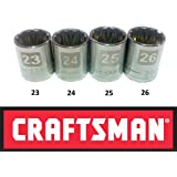 "Craftsman Laser Etched Easy Read 4 Piece Large Metric MM ½"" Drive 12 Point Socket Set"