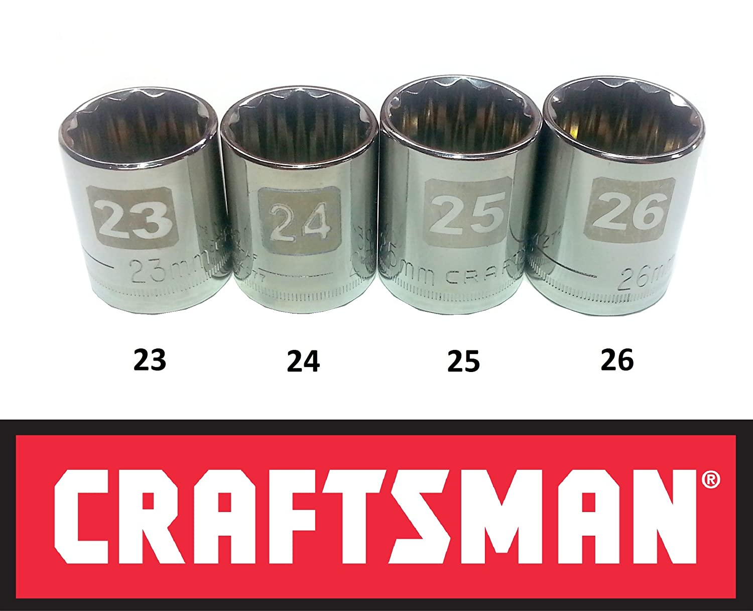 """Craftsman Laser Etched Easy Read 4 Piece Large Metric MM ½"""" Drive 12 Point Socket Set"""