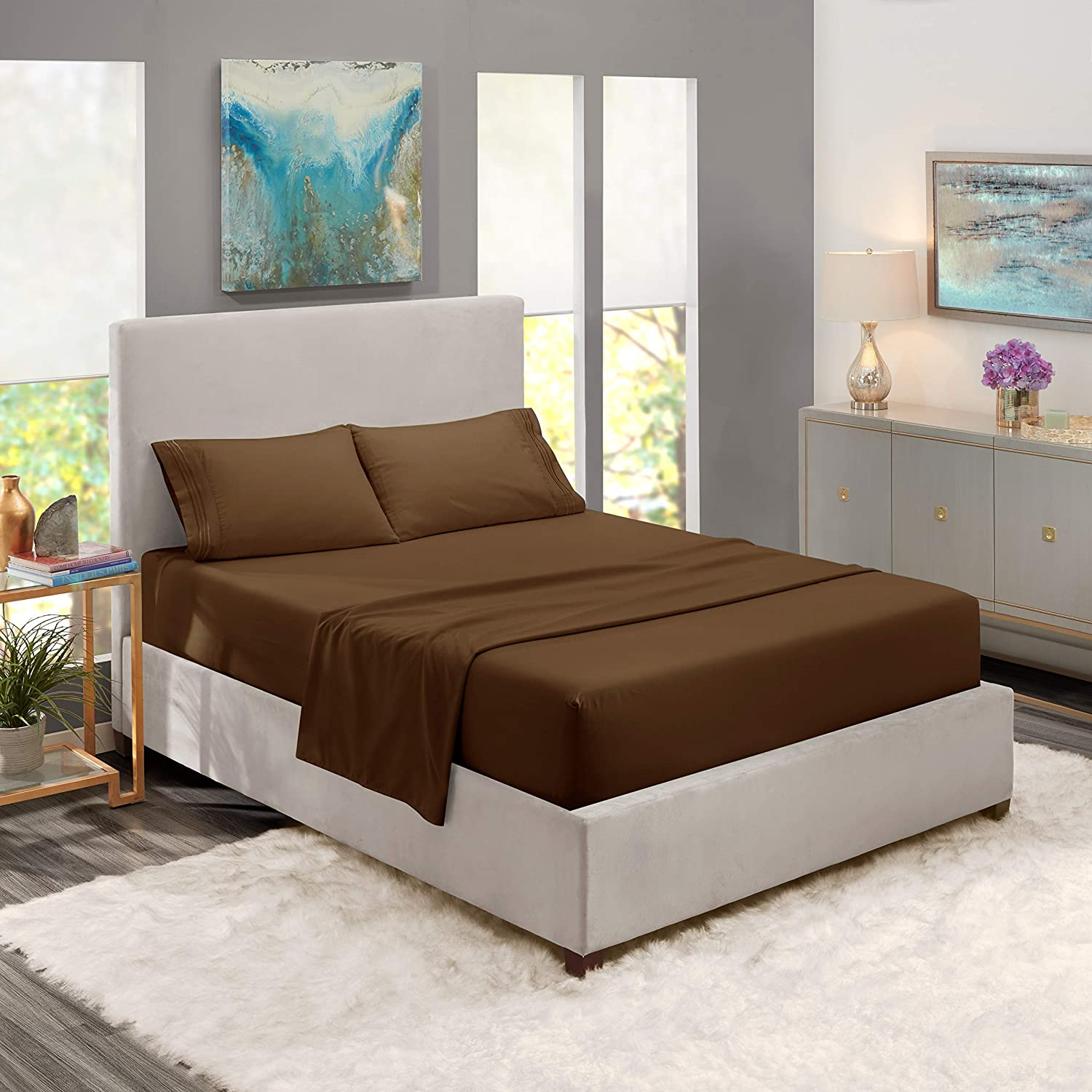 """Nestl Bedding Soft Sheets Set – 4 Piece Bed Sheet Set, 3-Line Design Pillowcases – Easy Care, Wrinkle Free – 10""""–16"""" Good Fit Deep Pockets Fitted Sheet – Warranty Included – King, Brown"""