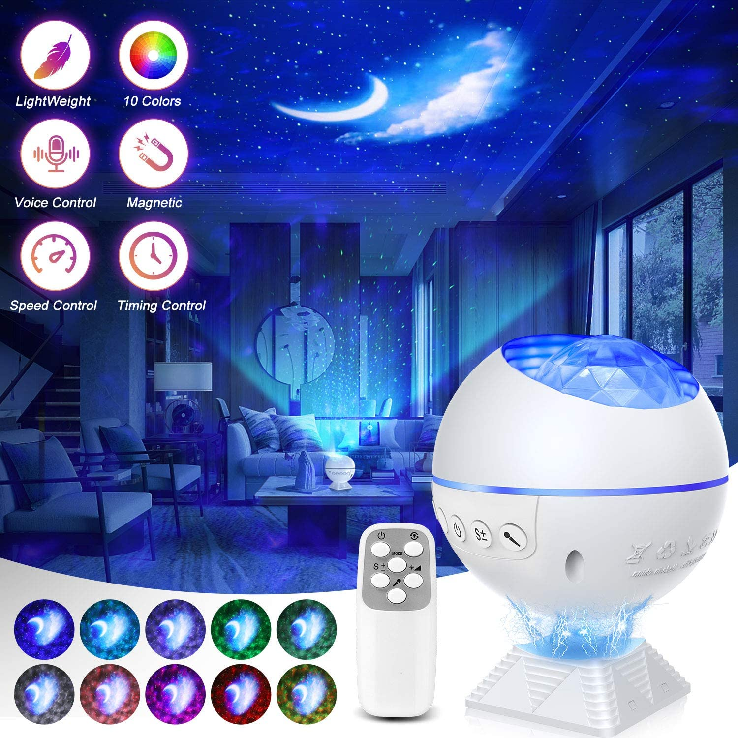 Galaxy Projector 3 in 1 Ocean Wave Night Light Star Projector with Remote Control Voice Control, Nebula Cloud Mini 360 Pro Light Projector for Bedroom Ceiling Car Kid Adult Gift with 43 Light Modes