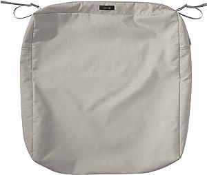 "Classic Accessories Ravenna Square Patio Seat Cushion Slip Cover, Mushroom, 25"" x 25"" x 5"""
