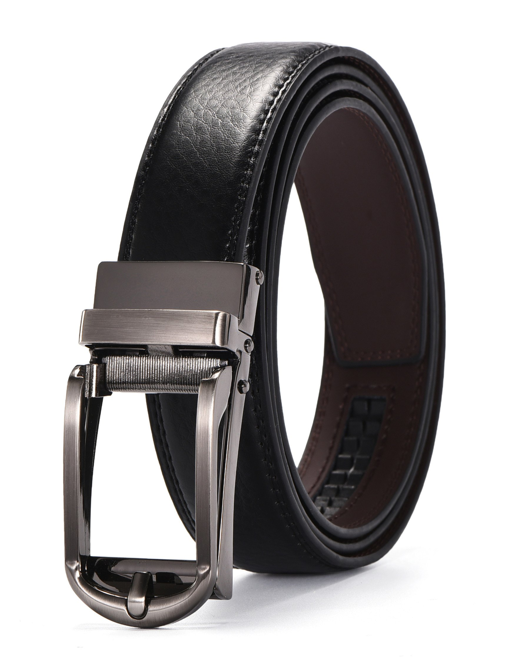 Men's Leather Ratchet Dress Belt 1 1/8'' wide with Automatic Buckle Gift Box (UP TO 54'' Waistline, Black04)