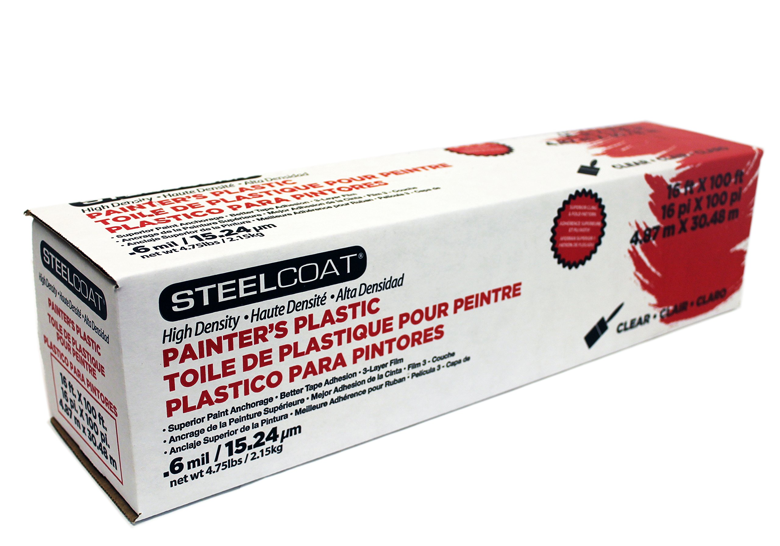 STEELCOAT FG-P9934-68A High Density Painter's Plastic, 16' x 100'