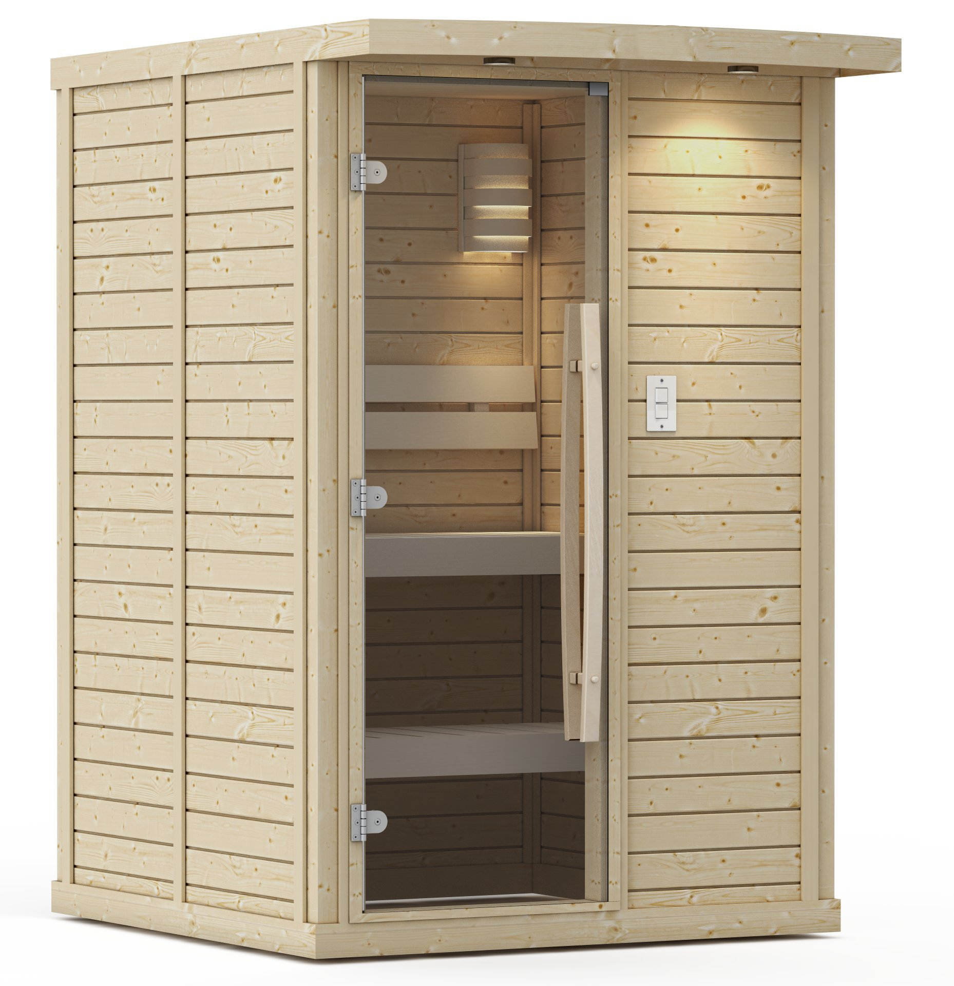 Goldstar 1000-A Prebuilt Traditional Sauna w/ Canopy & Lights by Goldstar