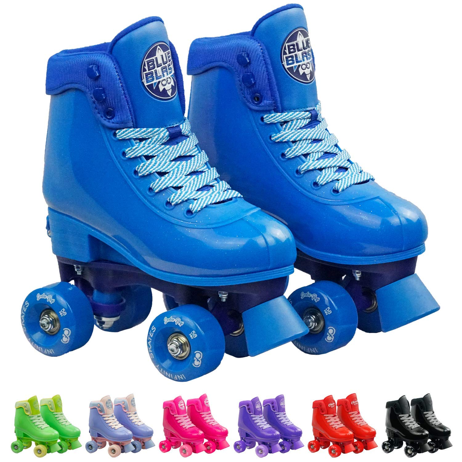 Infinity Skates Adjustable Roller Skates for Girls and Boys - Soda Pop Series (Blue/Small)