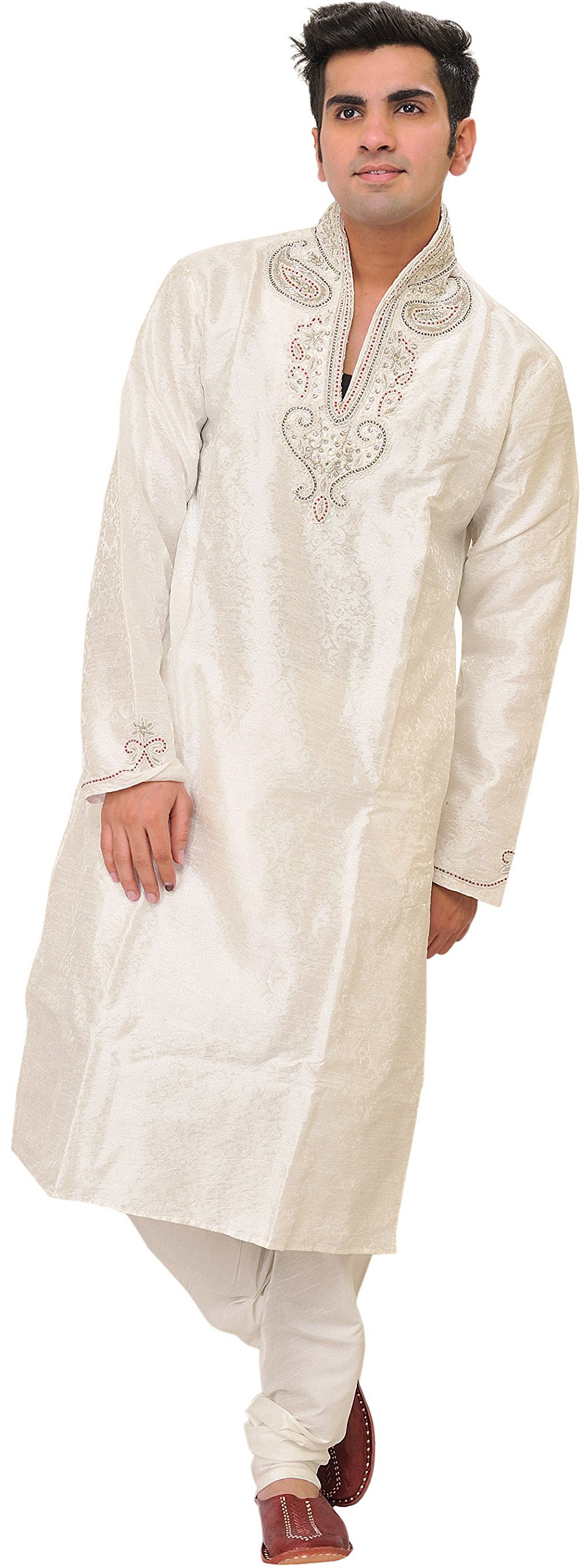 Exotic India Egret-White Wedding Kurta Pajama Set with Size 40