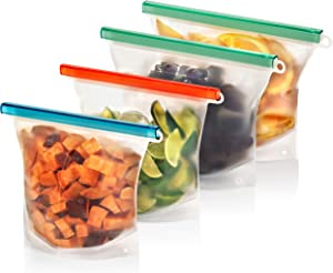Ecokeep Reusable Silicone Ziploc Bags. Dishwasher Safe, Freezer Safe, Airtight Seal. Soups, Smoothies, Sandwiches, Baby Food, Pet Food. THICK silicone sandwich bags (2 large, 2 medium)