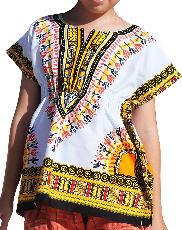 RaanPahMuang Childs African Dashiki Festival Bright Cotton Open Collar Shirt, Medium, White with Yellow item627060AMZ