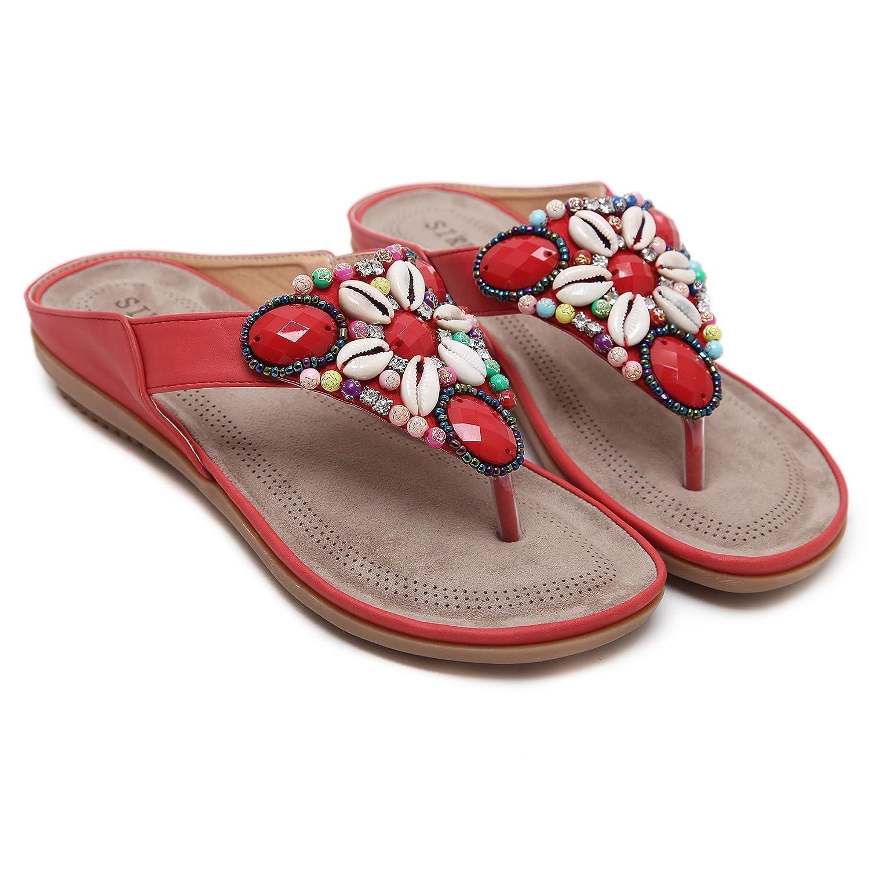 DENGBOSN Damen Sandalen Böhmischer Absätz Schuhe Sommer Sandalen Antirutsch Komfortabel Frauen Flip Flops Schuhe, Gr:-35 EU Farbe:-Beige1