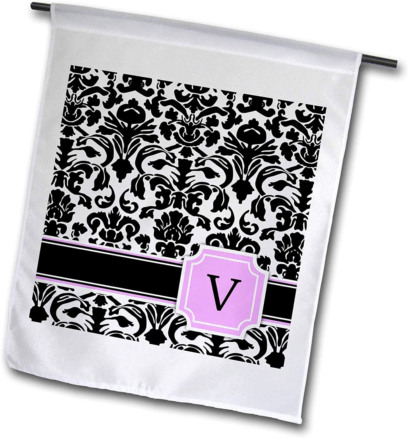 3dRose InspirationzStore Monograms - Personal Initial V Monogrammed Pink Black and White Damask Pattern Girly Stylish Personalized Letter - 12 x 18 inch Garden Flag (fl_154397_1)