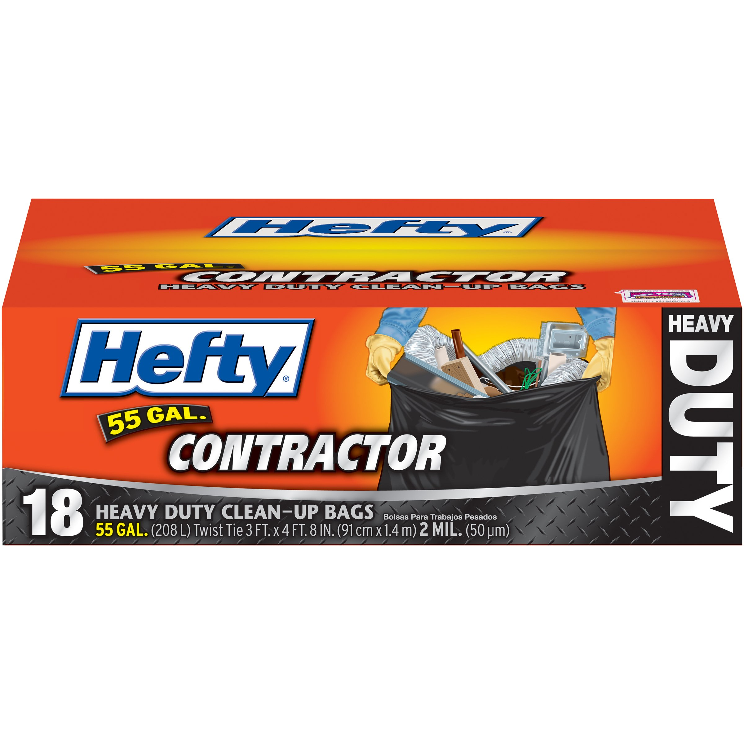 Hefty Heavy Duty Contractor Bags - 55 Gallon, 4 Packs of 18 Count (72 Total) by Hefty