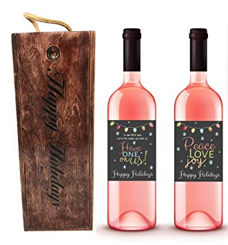 Amazon Com Happy Holiday Wooden Wine Gift Box And Wine Labels Set