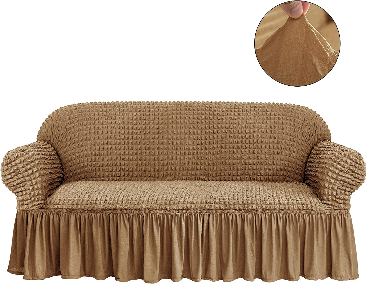 CHUN YI 1-Piece All-Purpose Universal Easy Fitted Sofa Couch Cover Stretchable High Elasticity Durable Furniture Protector 3 Seats Sofa Slipcover with Skirt (Sofa, Almond)