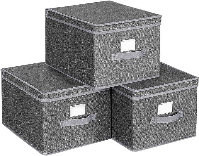 SONGMICS Juego de 3 Cajas Plegables con Tapas, Cajas de Almacenaje de Tela con Portaetiquetas, 40 x 30 x 25 cm, Gris Ahumado RYFB03G: Amazon.es: Hogar