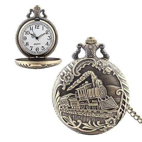 Vintage reloj de bolsillo con cadena Retro estilo delicatedtimepiece tren reloj de cuarzo regalo perfecto