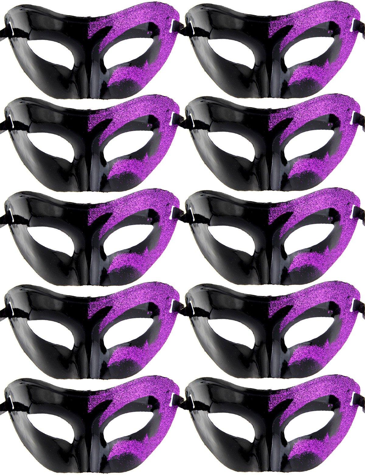IETANG 10pcs Set Mardi Gras Half Masquerades Venetian Masks Costumes Party Accessory (0-Black&Purple)