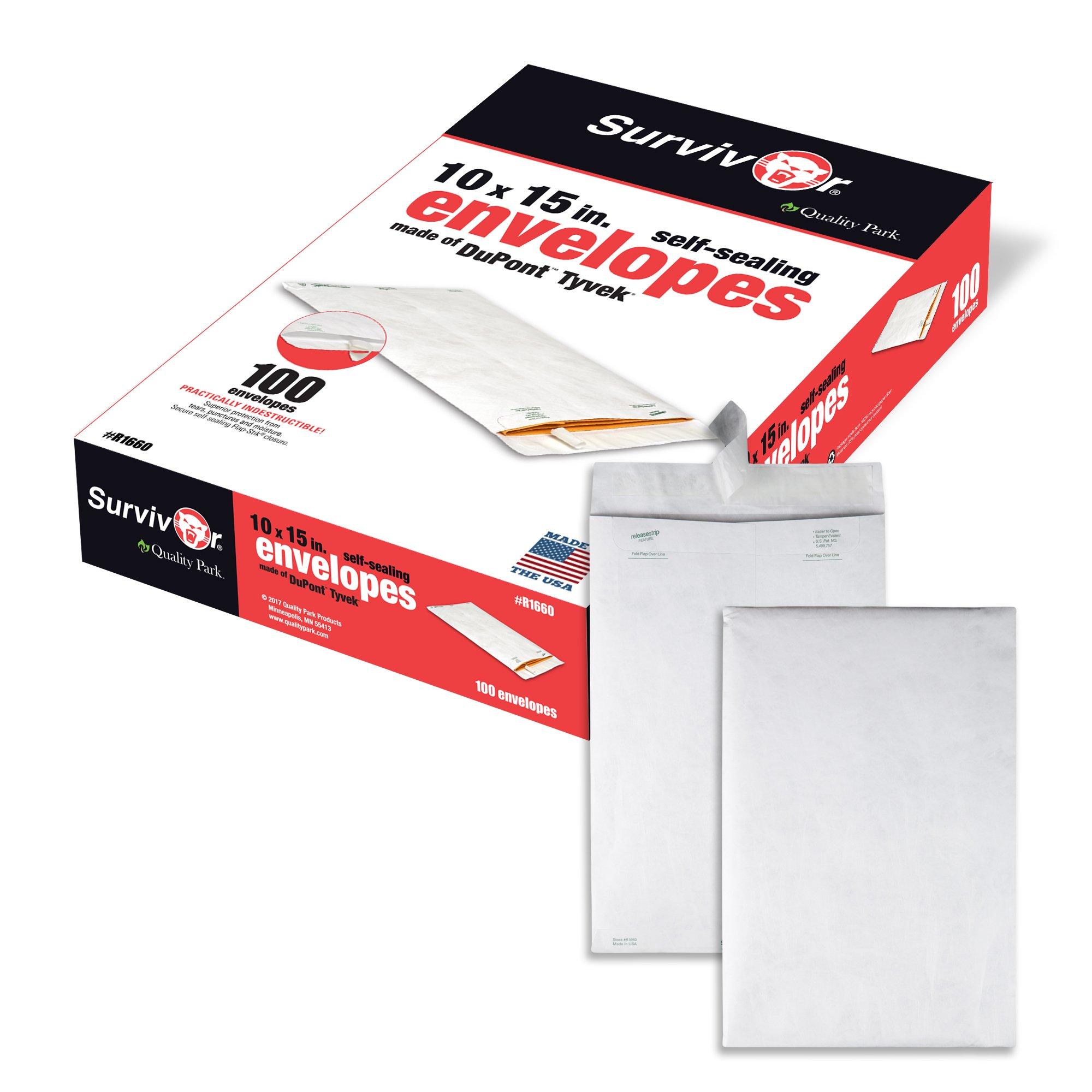 Quality Park QUAR1660 Survivor 10 x 15 Tyvek Catalog Mailer with Self Sealing Closure, 14 lb Puncture, Tear and Moisture Resistant DuPont Tyvek Envelopes, 100 per Box (R1660)