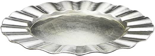 Christmas Tablescape Decor - Silver Ruffle Rim Charger Plate