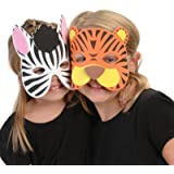 Wild Animal Foam Masks, (12) assorted masks