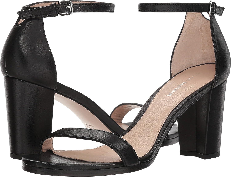 Stuart Weitzman Women's Nearlynude Heeled Sandal B07D7R4VD7 10 B(M) US|Black Nappa
