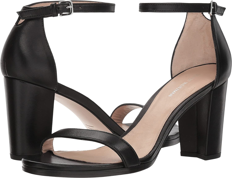 Black Nappa Stuart Weitzman Women's Nearlynude Heeled Sandal