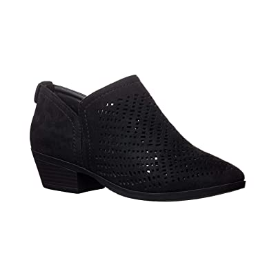 Kaptene Chatty-01 Perforated Laser Cut Western Heel Round Toe Slip On Womens Booties   Ankle & Bootie