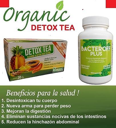 1 Organic Detox TEA Limpia Desentoxica + BACTE ADVANCE FORMULA Reduce la Hinchazón abominal!