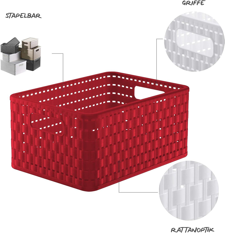Rotho Country Caja de Almacenamiento 11l en Rattan-Look, Rojo, A5+: Amazon.es: Hogar