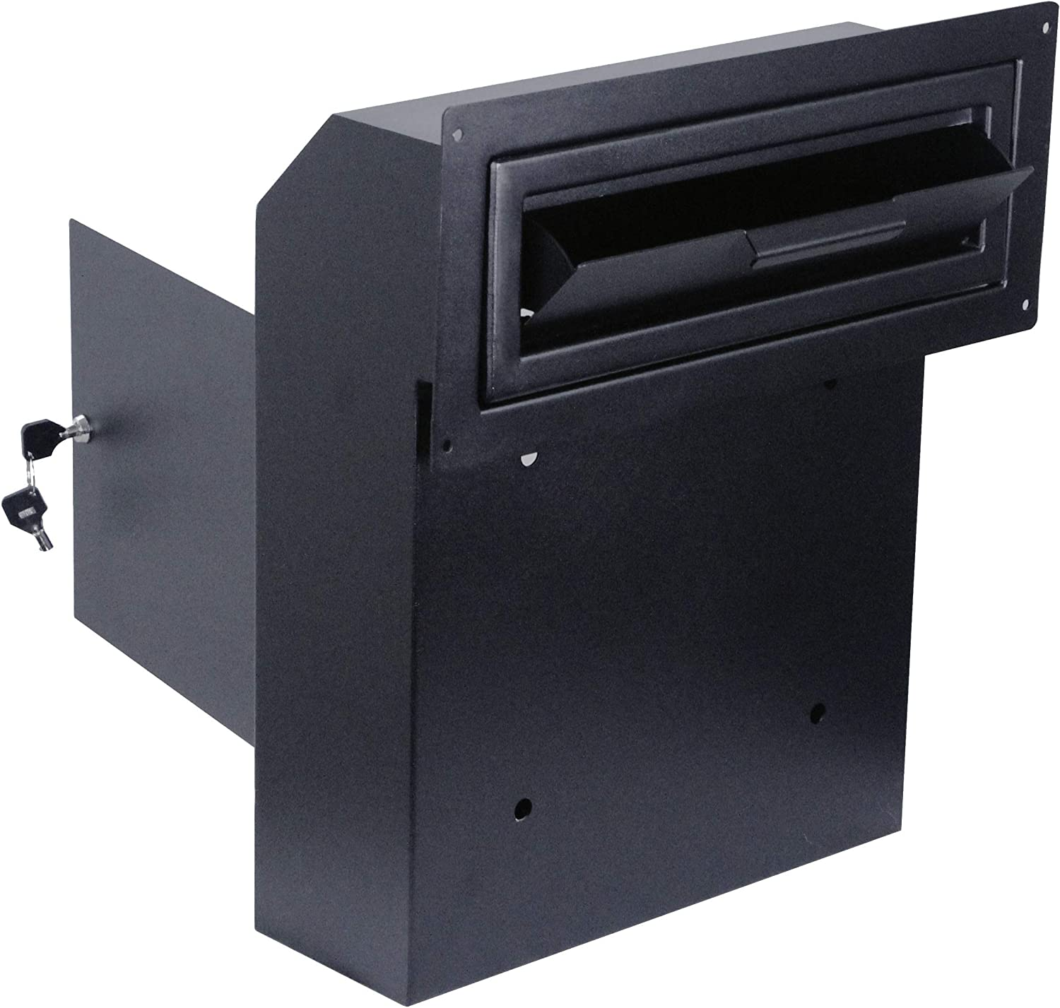 Door Drop Box for Mail, Rent, Deposit, and Night Key - Door Mount Locking Mailbox with Rear Access Through The Door (10.5'' x 2.25'' Mail Slot and 12'' x 4.25'' x 15'' Overall Dimension)