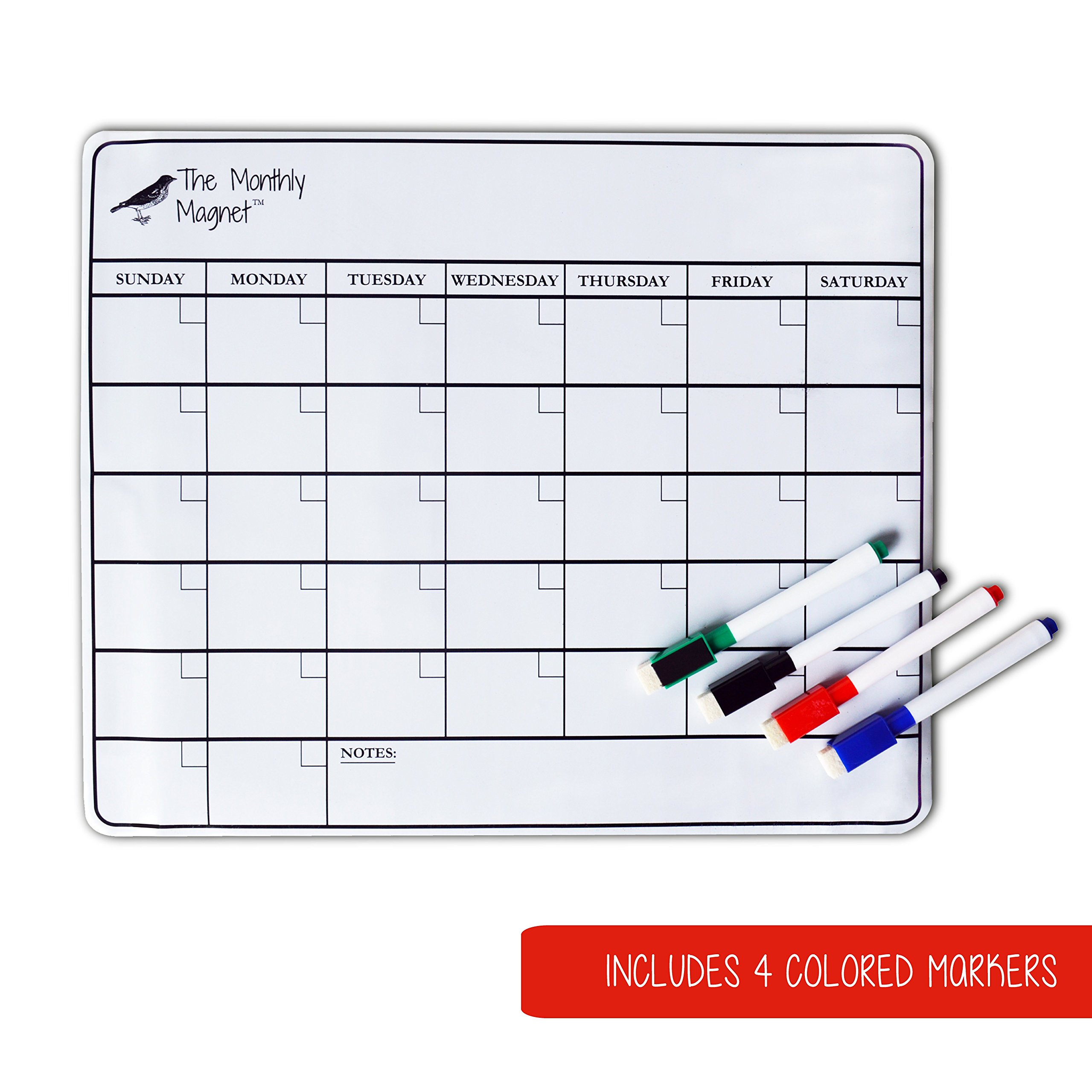 Magnetic Dry Erase Calendar Set by SoHo Home & Kitchen - Includes 4 Color Whiteboard Markers - 11 x 14 Inches - Perfect Size for Refrigerators