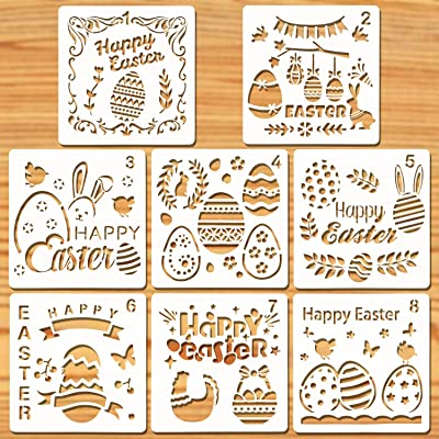 Konsait Easter Stencils Templates, 8Pcs Plastic Drawing Painting Stencils Template Sets, Washable Stencils for Painting Easter Decoration, Easter Crafts for Kids, Easter Gift for Kids Party Bag Filler: Toys & Games