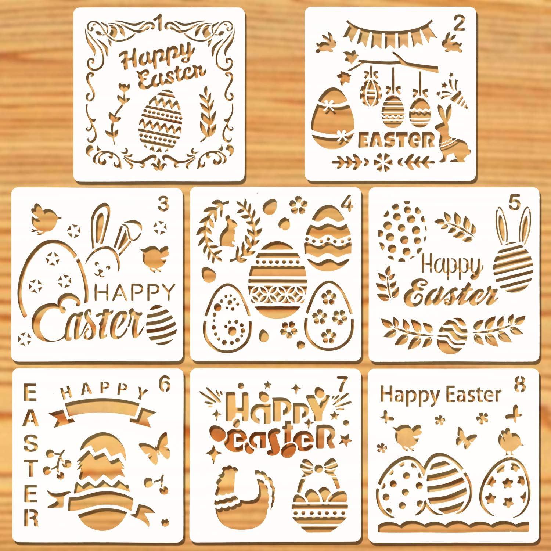 Howaf 8 St/ück Ostern schablonen Set Kunststoff Zeichnung Malerei Schablone f/ür Kinder Ostern basteln K/örpermalfarben osternkarten Ostern deko und ostergeschenke