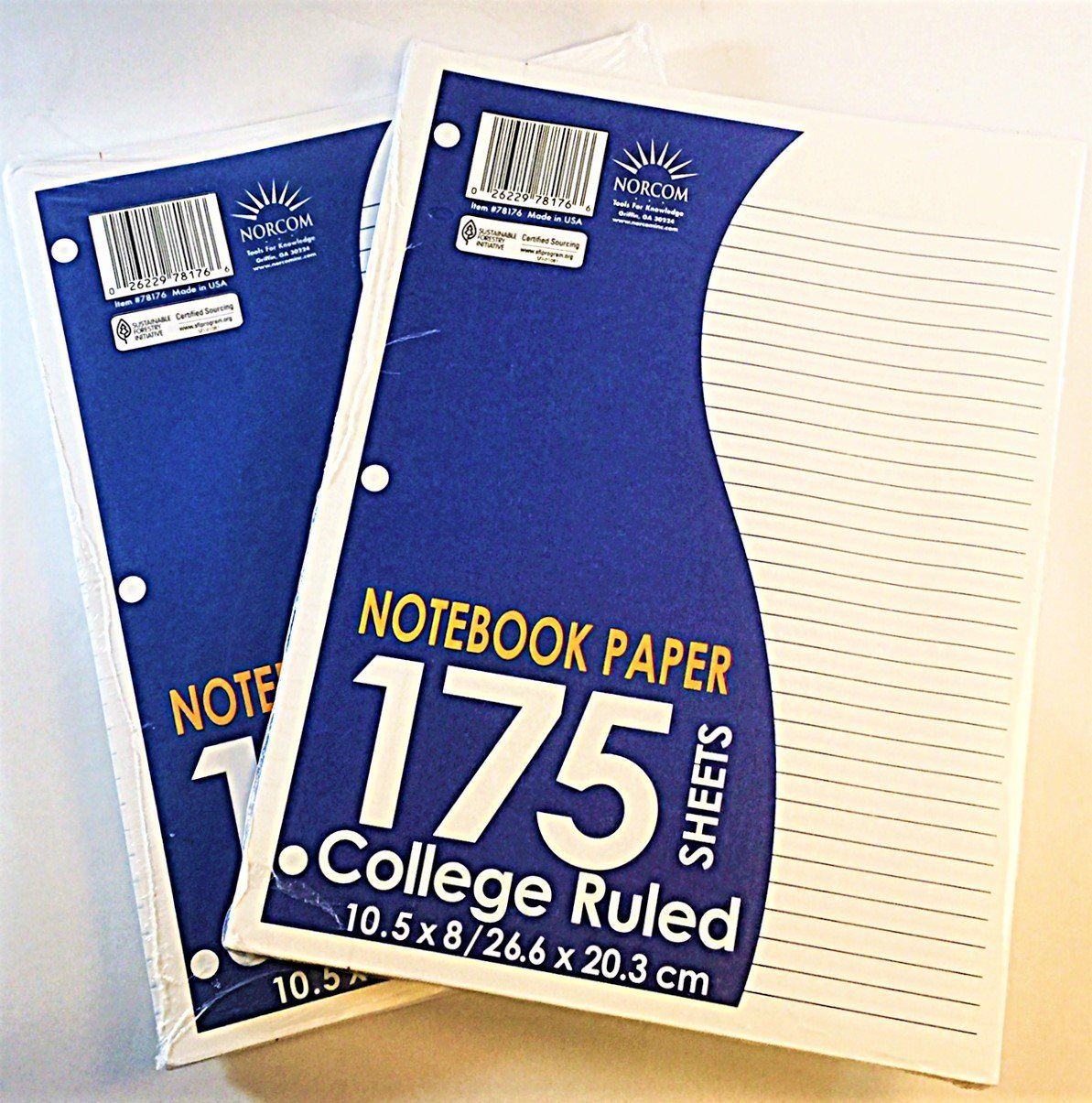 NOTEBOOK FILLER PAPER 2 packs 175 sheets each total 350 sheets.