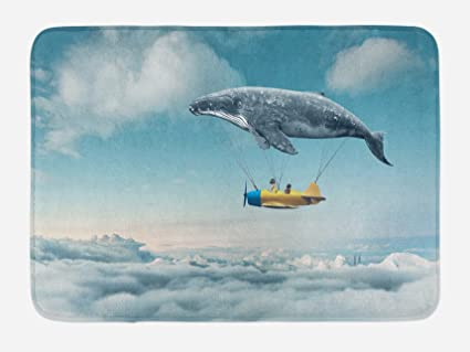and bathroom com bath fantasy view of cloudy whale landscape amazon ambesonne aeroplane mat dreamy dp sky mats by