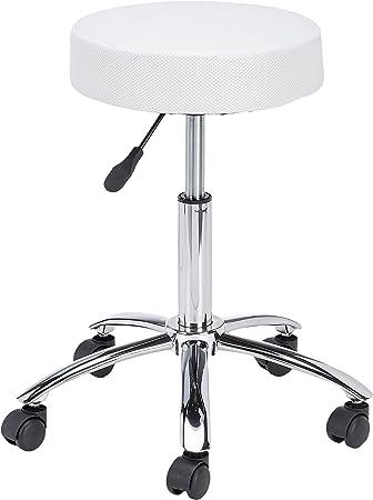 AMSTYLE Hocker LEON Design Arbeitshocker verstellbar Bezug Stoff Mesh Weiß Sitzhocker Teppichbodenrollen Rollhocker gepolstert ohne Lehne