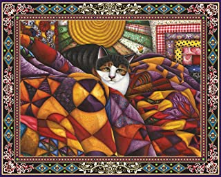 product image for Springbok's 1000 Piece Jigsaw Puzzle Quilted Cat, Multi