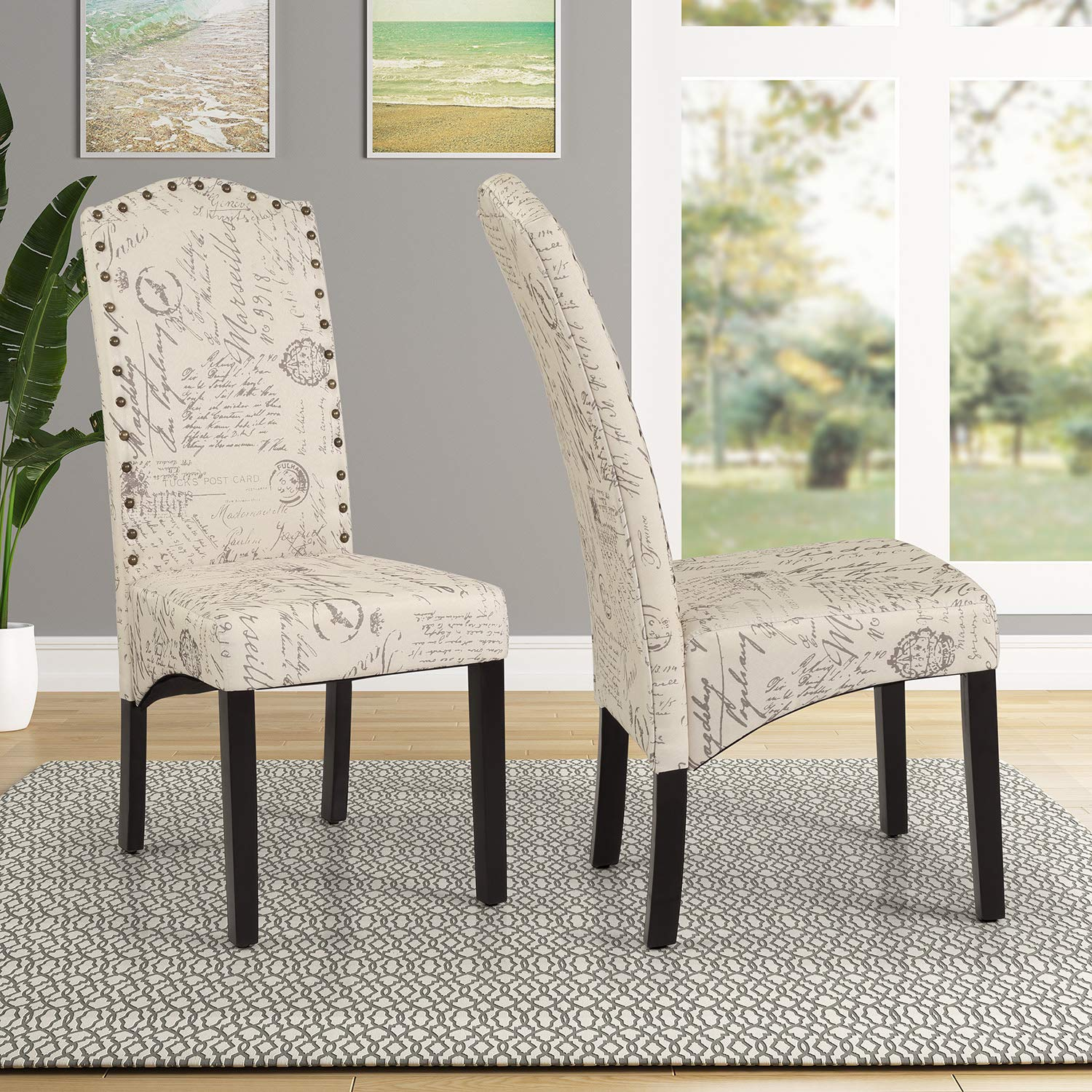Merax Fabric Dining Chairs Script Fabric Accent Chair with Solid Wood Legs, Set of 2 Beige Script