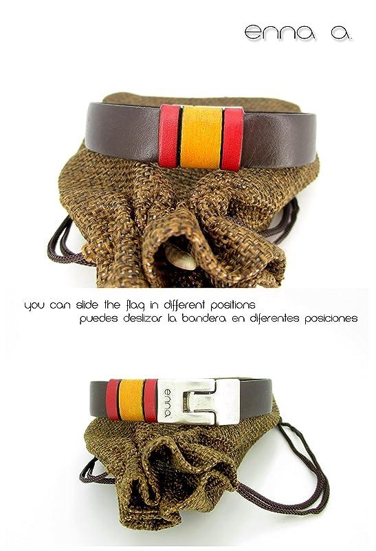 Pulsera cuero marrón, bandera España: Amazon.es: Handmade