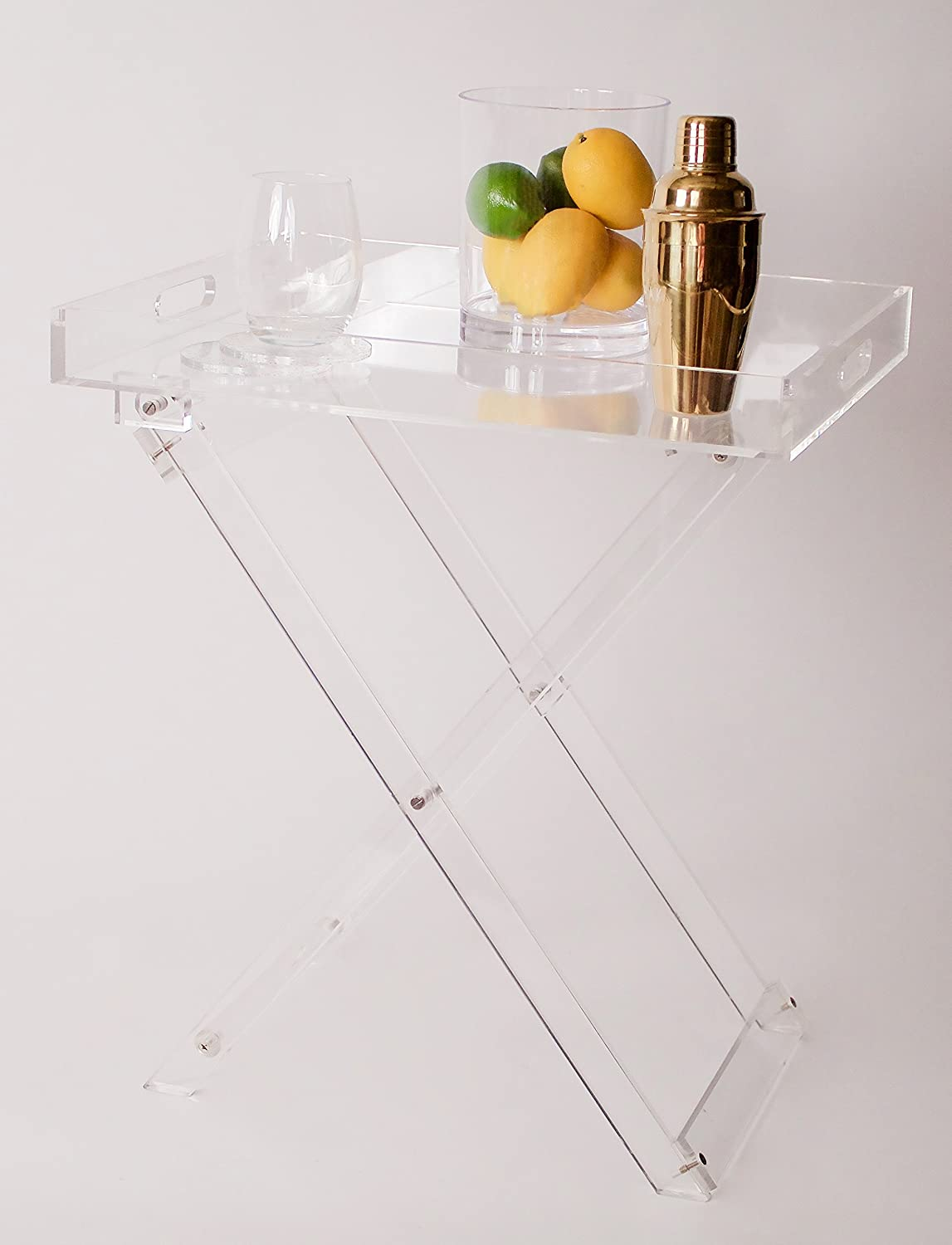 Clear Acrylic Lucite Folding Table Tv Snack Serving Tray
